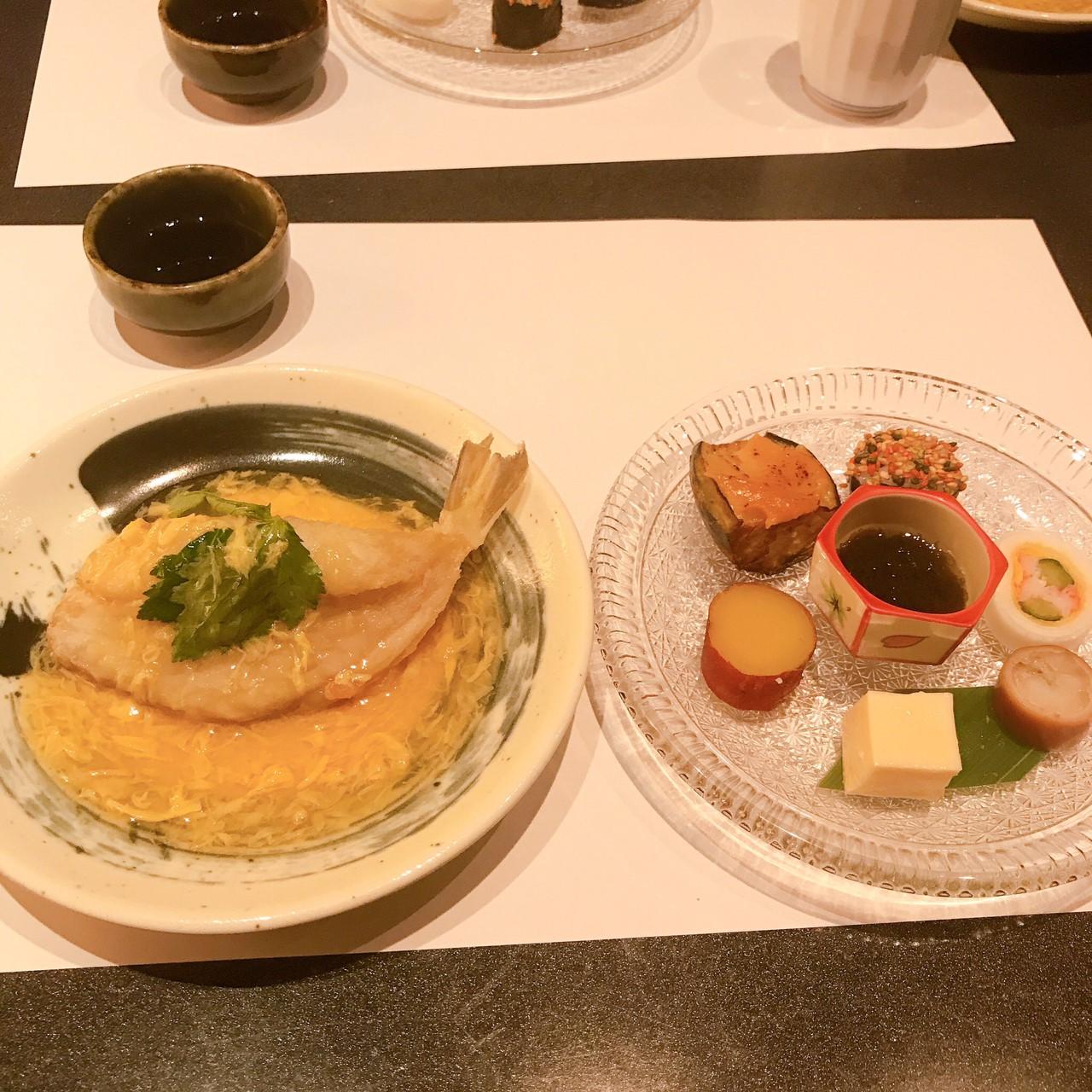 前菜とふぐの天ぷらあんかけ?