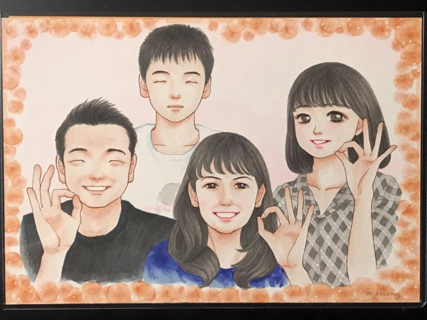 家族似顔絵イラスト
